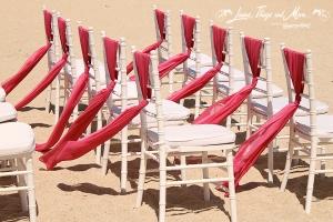 2 tones Fuchsia design chair ties for beach wedding - Melia Cabo Real