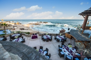 Purple wedding decor at Esperanza Resort Cabo