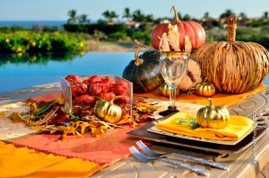 High end Thanksgiving decor Los Cabos