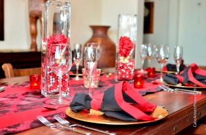 Black and red traditional Christmas decoration and centerpiece Los Cabos