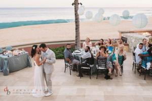 Aqua and brown beach wedding decor at Sheraton Hacienda del Mar Cabo