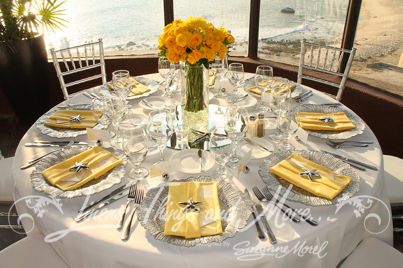 Custom Silver and Yellow Wedding Décor at Sunset da Mona Lisa