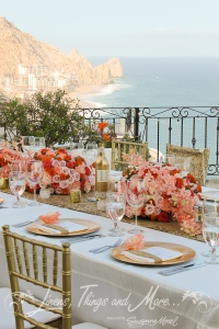 Villa Grande high end coral and gold wedding design & flowers