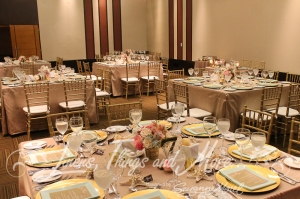 Mint green gold and sand wedding decor Barcelo Los Cabos