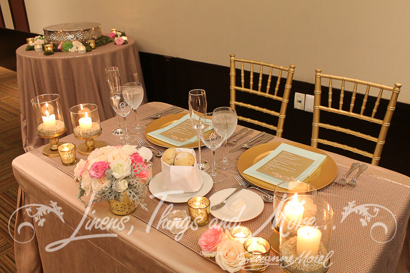 Bride And Groom Table Decor Sequins Sand And Gold Barcelo Los Cabos ...