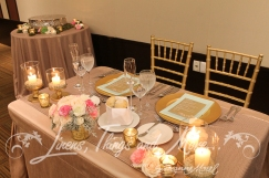 Bride and groom table decor sequins sand and gold Barcelo Los Cabos