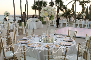 Romantic reception wedding decor blush and gold Cabo
