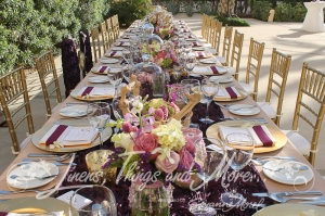 High end wedding design Barcelo Hyatt Eggplant Champagne Gold