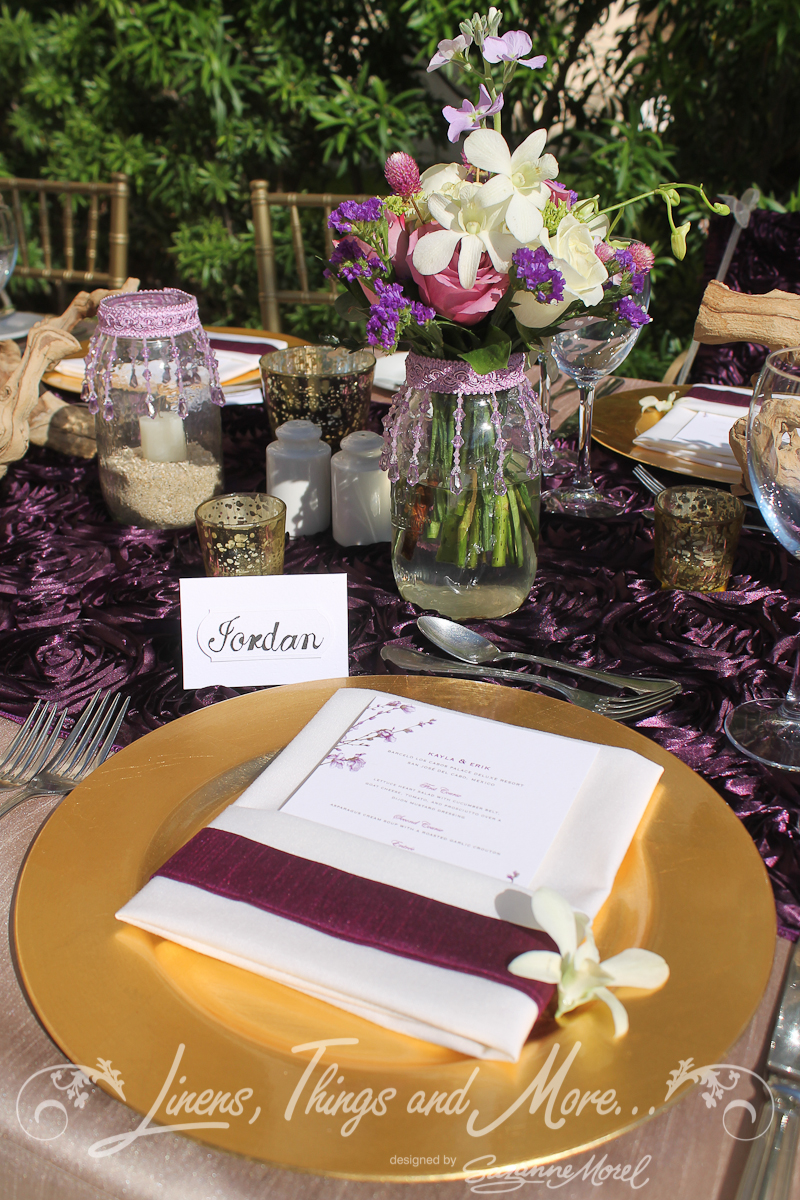 eggplant and champagne wedding d cor at the barcel hyatt ziva los cabos cabo linens things. Black Bedroom Furniture Sets. Home Design Ideas