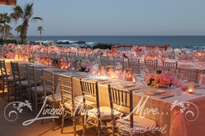High end linens and decor silver and blush Esperanza Resort