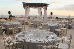 Dove gray wedding decor Luxury Cabo Esperanza resort