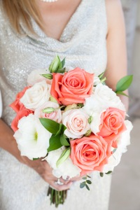 Bride flower Los Cabos wedding design coral and blush