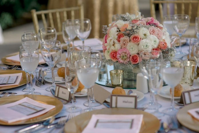 Romantic gold Cabo table setting