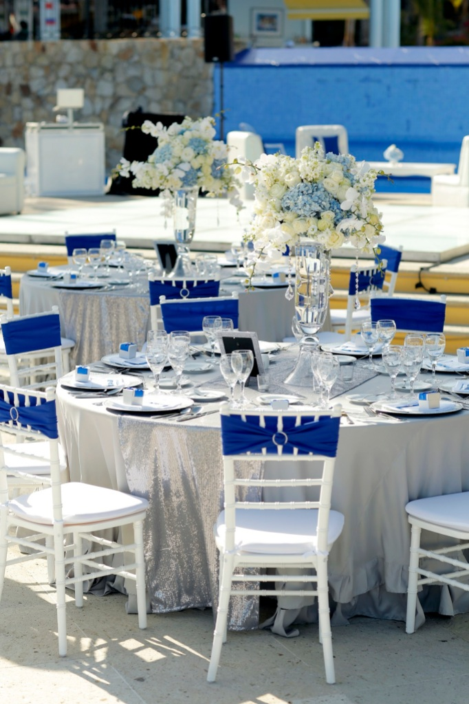 Incredible Royal Blue And Silver Wedding Dcor At Dreams Los Cabos
