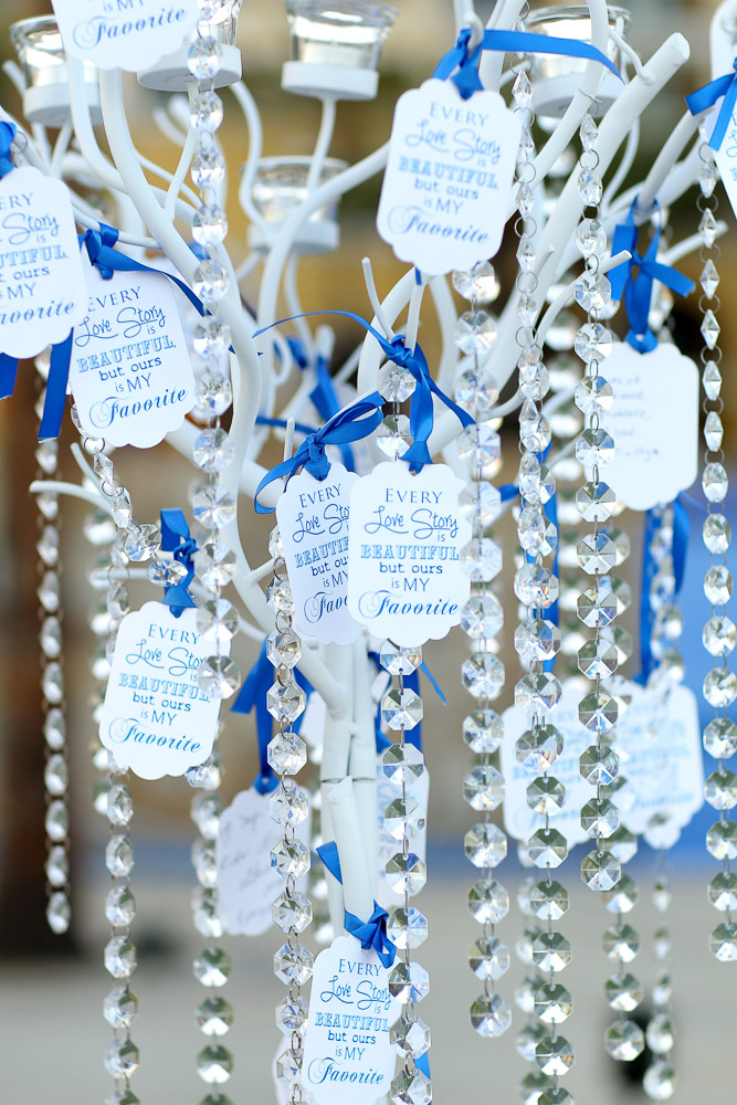 Crystal tree entrance table Wedding Dreams Blue and silver