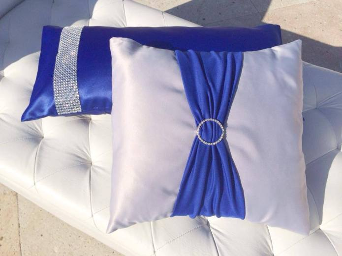 Custom lounge pillows Blue and silver