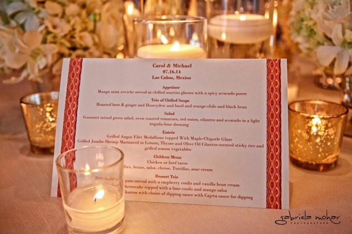Cabo wedding menu