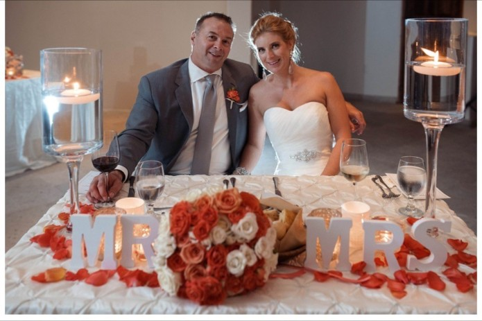 Winter wedding sweetheart table in Cabo