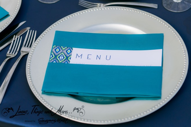 Napkin  aqua menu Cabo Wedding