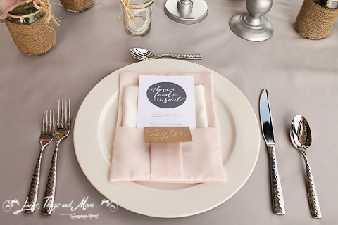 Napkin Dove Gray and Blush pink Cabo wedding decor