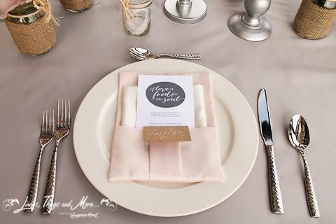 Napkin Dove Gray and Blush pink Cabo wedding decor