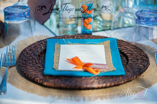Napkin orange aqua menu Cabo Wedding reception