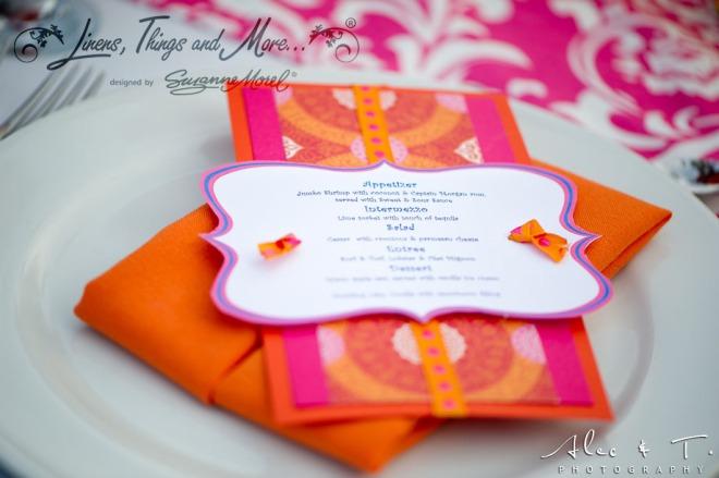 Napkin Orange Menu Cabo Wedding