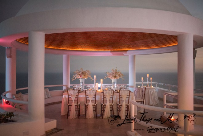 Sunset Dinner Mint and Off-White Elegant Rustic Cabo Wedding at Villa Clara Vista