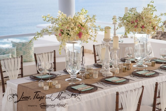 Table setup Mint and Off-White Elegant Rustic Wedding at Villa Clara Vista.