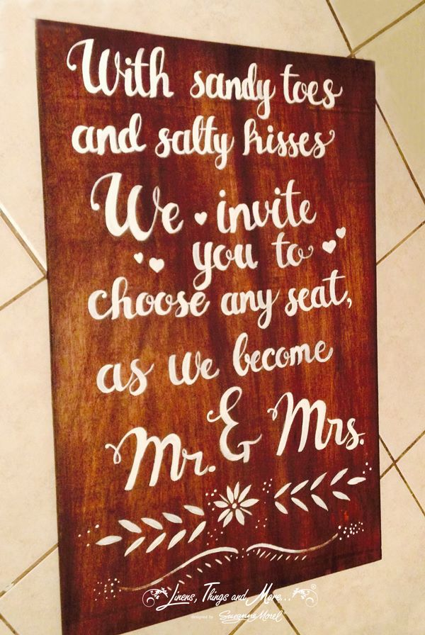 hand lettered wooden sign Cabo wedding