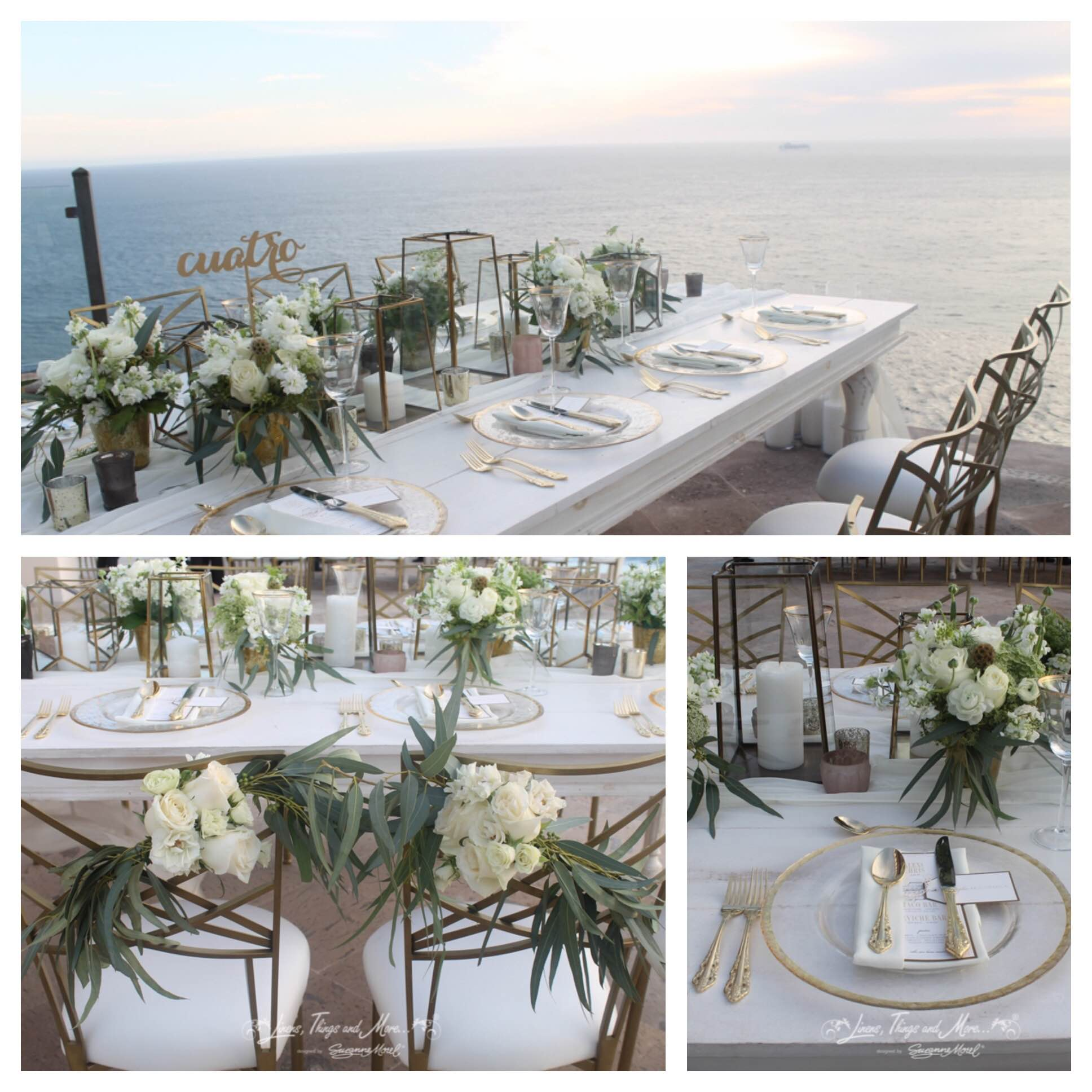 Gold white green Cabo wedding
