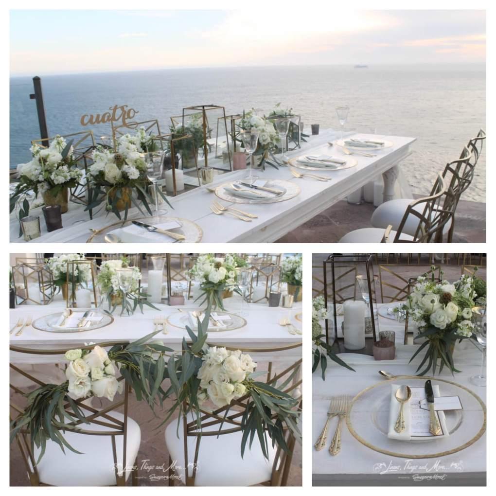 Gold white green Cabo wedding