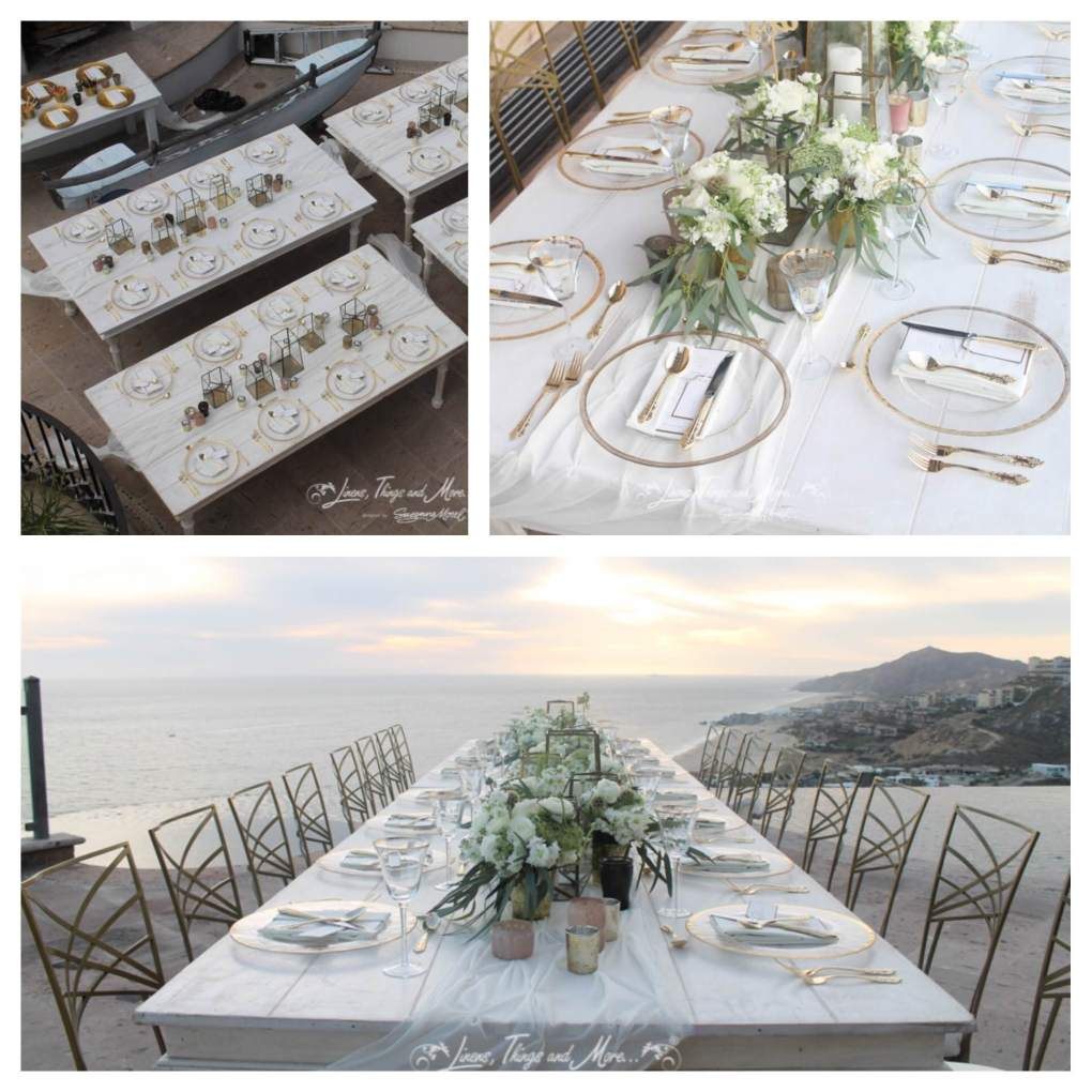 Gold and White Destination Wedding Décor in Los Cabos | Cabo Linens ...